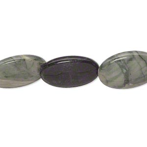 bead, green jasper (natural), 17x12mm-18x13mm lentil-drilled flat oval, c grade, mohs hardness 6-1/2 to 7. sold per 15-inch strand.
