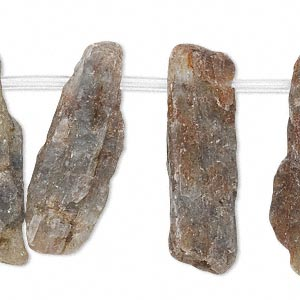 bead, green kyanite (natural), 15x8mm-44x14mm top-drilled stick, b- grade, mohs hardness 4 to 7-1/2. sold per pkg of 24 beads.