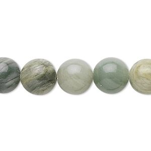 bead, green line jasper (natural), 10mm round, b grade, mohs hardness 6-1/2 to 7. sold per 16-inch strand.
