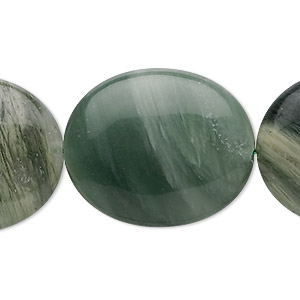 bead, green line jasper (natural), 30x25mm oval, b grade, mohs hardness 6-1/2 to 7. sold per 8-inch strand, approximately 5 beads.
