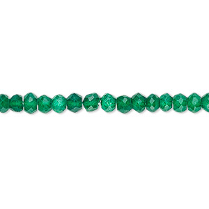 bead, green onyx (coated), 4x2mm-5x4mm hand-cut faceted rondelle, c- grade, mohs hardness 6-1/2 to 7. sold per 13-inch strand.