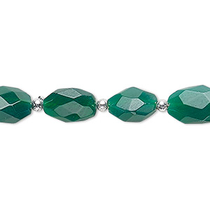 bead, green onyx (dyed), 11x7mm-13x9mm hand-cut faceted puffed oval, b- grade, mohs hardness 6-1/2 to 7. sold per 7-inch strand.