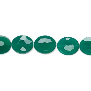 bead, green onyx (dyed), 11x9mm hand-cut faceted puffed oval, b+ grade, mohs hardness 6-1/2 to 7. sold per pkg of 5.