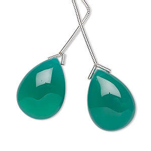 bead, green onyx (dyed), 20x15mm hand-cut top-drilled teardrop, b grade, mohs hardness 6-1/2 to 7. sold per pkg of 2 beads.