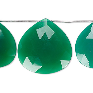 bead, green onyx (dyed), 25x25mm-28x28mm hand-cut top-drilled faceted puffed teardrop, b grade, mohs hardness 6-1/2 to 7. sold per pkg of 3 beads.