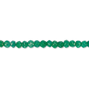 bead, green onyx (dyed), 3x2mm-4x3mm hand-cut faceted rondelle, b- grade, mohs hardness 6-1/2 to 7. sold per 13-inch strand.