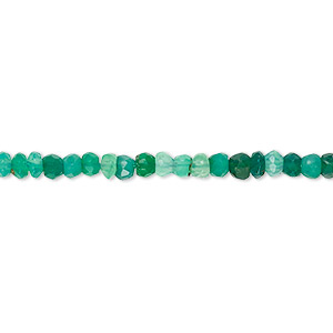 bead, green onyx (dyed), light to medium, 3x2mm-4x3mm hand-cut faceted rondelle, c- grade, mohs hardness 6-1/2 to 7. sold per 13-inch strand.