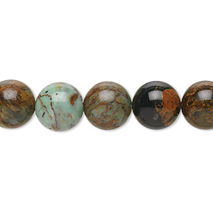 bead, green opal (natural), 10mm round, b grade, mohs hardness 4-1/2 to 6. sold per 16-inch strand.