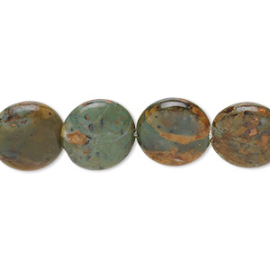 bead, green opal (natural), 12mm flat round, b grade, mohs hardness 4-1/2 to 6. sold per 16-inch strand.