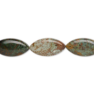 bead, green opal (natural), 40x20mm flat marquise, b grade, mohs hardness 4-1/2 to 6. sold per 16-inch strand.
