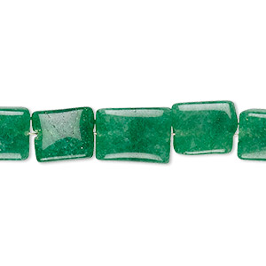 bead, green quartz (dyed), 11x7mm-14x10mm hand-cut puffed rectangle, c grade, mohs hardness 7. sold per 8-inch strand.