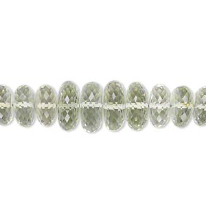 bead, green quartz (heated), 10x4mm-11x5mm graduated hand-cut faceted rondelle, b+ grade, mohs hardness 7. sold per pkg of 10.