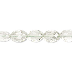 bead, green quartz (heated), 11x8mm-13x9mm hand-cut faceted oval, a- grade, mohs hardness 7. sold per 7-inch strand.