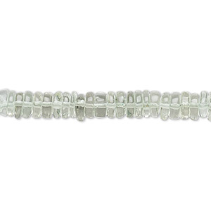 bead, green quartz (heated), 4x1mm-6x2mm hand-cut rondelle with 0.4-1.4mm hole, b+ grade, mohs hardness 7. sold per 8-inch strand, approximately 100-150 beads.