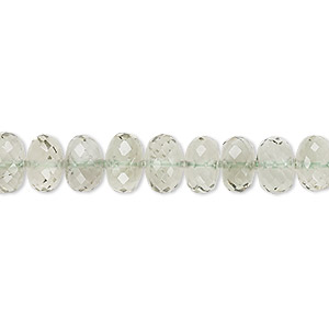 bead, green quartz (heated), 7x5mm-9x7mm graduated hand-cut faceted rondelle, a- grade, mohs hardness 7. sold per 8-inch strand.