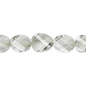 bead, green quartz (natural), 11x9mm hand-cut faceted twisted flat oval, b+ grade, mohs hardness 7. sold per pkg of 5.