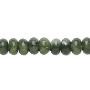 bead, green serpentine (natural), 8x5mm rondelle, b grade, mohs hardness 2-1/2 to 6. sold per 16-inch strand.