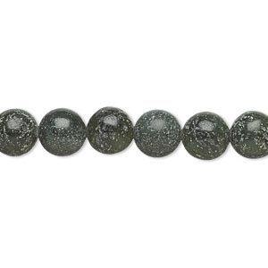 bead, green serpentine (natural), dark, 8-9mm round, d grade, mohs hardness 2-1/2 to 6. sold per 15-inch strand.