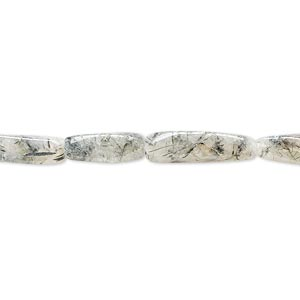bead, green tourmalinated quartz (natural), 11x4mm-15x5mm hand-cut twisted square tube, d grade, mohs hardness 7. sold per 14-inch strand.