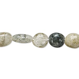 bead, green tourmalinated quartz (natural), medium to large hand-cut pebble, mohs hardness 7. sold per 14-inch strand.