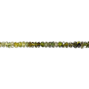 bead, green tourmaline (natural), shaded, 3x1mm hand-cut faceted rondelle, b- grade, mohs hardness 7 to 7-1/2. sold per 16-inch strand.