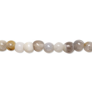 bead, grey agate (dyed), 5-6mm round, c- grade, mohs hardness 6-1/2 to 7. sold per 15-inch strand.