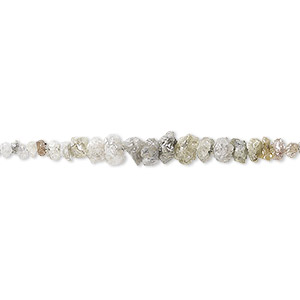 bead, grey diamond (natural), mini to small graduated hand-cut chip, mohs hardness 10. sold per 8-inch strand.