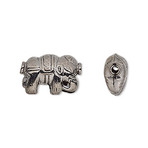bead, gunmetal-finished copper, 18x12mm double-sided elephant. sold per pkg of 6.