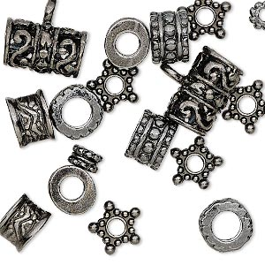 bead, gunmetal-finished pewter (zinc-based alloy), 5x3mm-13x9mm assorted shape with 2-5mm hole. sold per pkg of 20.