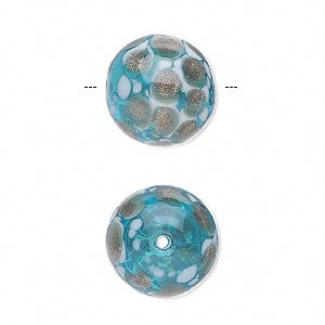 bead, hand-blown glass, aqua blue and white with copper-colored glitter, 15mm hollow round. sold per pkg of 2.