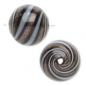 bead, handblown glass, black and white with gold-colored glitter, 20mm hollow round with lines. sold per pkg of 2.