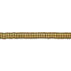 bead, hemalyke™ (man-made), antique gold, 4x1mm heishi. sold per 8-inch strand, approximately 200 beads.