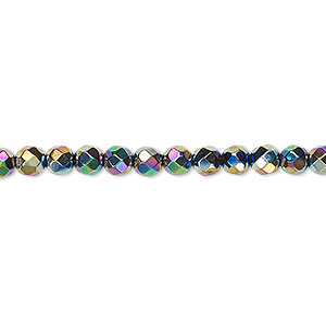 bead, hemalyke™ (man-made), rainbow, 4mm faceted round. sold per 16-inch strand.
