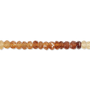 bead, hessonite garnet (natural), shaded, 4x2mm-5x3mm hand-cut faceted rondelle, b grade, mohs hardness 7 to 7-1/2. sold per 13-inch strand.