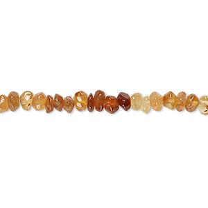 bead, hessonite garnet (natural), shaded, 4x2mm-5x3mm hand-cut tumbled faceted saucer, c grade, mohs hardness 7 to 7-1/2. sold per 14-inch strand.
