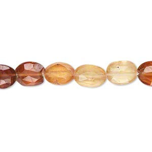 bead, hessonite garnet (natural), shaded, 7x6mm-12x8mm hand-cut faceted puffed oval, b grade, mohs hardness 7 to 7-1/2. sold per 14-inch strand.