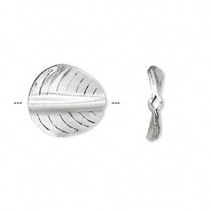 bead, hill tribes antique silver-plated copper, 16mm double-sided curved flat round with leaf design. sold per pkg of 2.