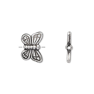 bead, hill tribes, antique silver-plated copper, 16x11mm double-sided butterfly. sold individually.