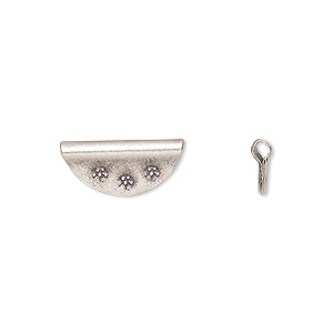 bead, hill tribes, antiqued fine silver, 15x7mm flat half-round with flowers. sold per pkg of 4.