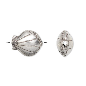 bead, hill tribes, antiqued fine silver, 16x13mm double-sided puffed shell. sold individually.