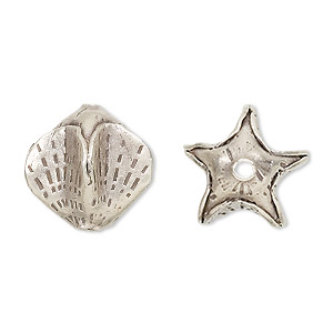 bead, hill tribes, antiqued fine silver, 16x16mm star. sold individually.