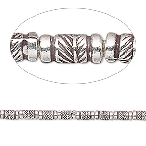 bead, hill tribes, antiqued fine silver, 5x2mm tube with leaf. sold per 8-inch strand, approximately 35 beads.