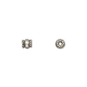 bead, hill tribes, antiqued fine silver, 5x4mm round with rope ends. sold per pkg of 8.