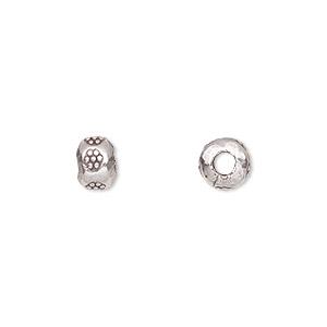 bead, hill tribes, antiqued fine silver, 7x5mm rondelle with flower design and 2.5mm hole. sold per pkg of 10.