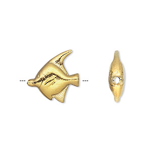 bead, hill tribes, gold-plated copper, 17x16mm double-sided fish. sold individually.