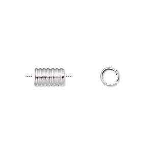 bead, hill tribes, silver-plated copper, 8x5mm corrugated round tube, 4mm hole. sold per pkg of 6.