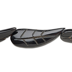 bead, horn (dyed / waxed), black, 33x13mm hand-cut double-sided carved leaf. sold per 16-inch strand.