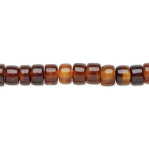 bead, horn (dyed / waxed), golden, 6x3mm hand-cut rondelle. sold per 16-inch strand.