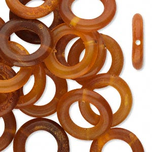 bead, horn (dyed), golden, 16mm hand-cut ring. sold per pkg of 25.