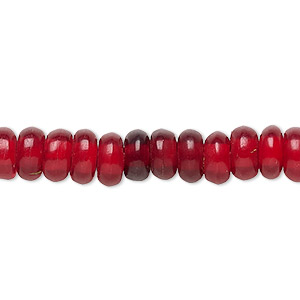 bead, horn (dyed), red, 8x4mm hand-cut rondelle. sold per 16-inch strand.